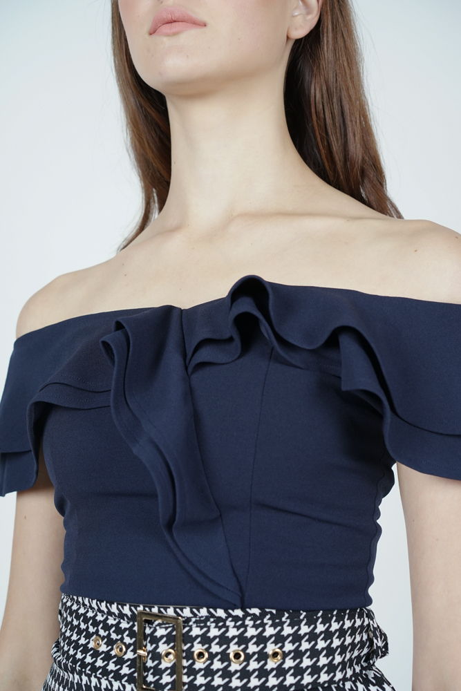 Flounce Ruffled Top in Midnight