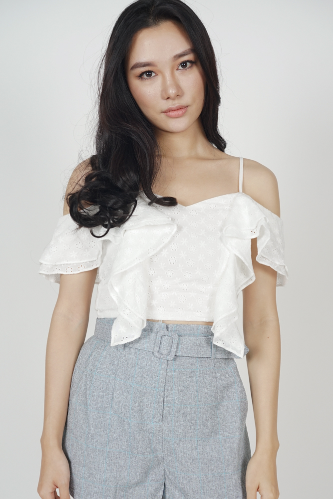 Asymmetric Ruffled Crochet Top in White - Online Exclusive
