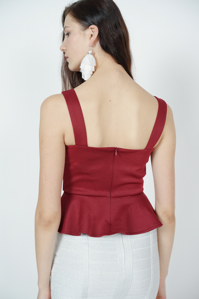 Wedelia Peplum Top in Maroon