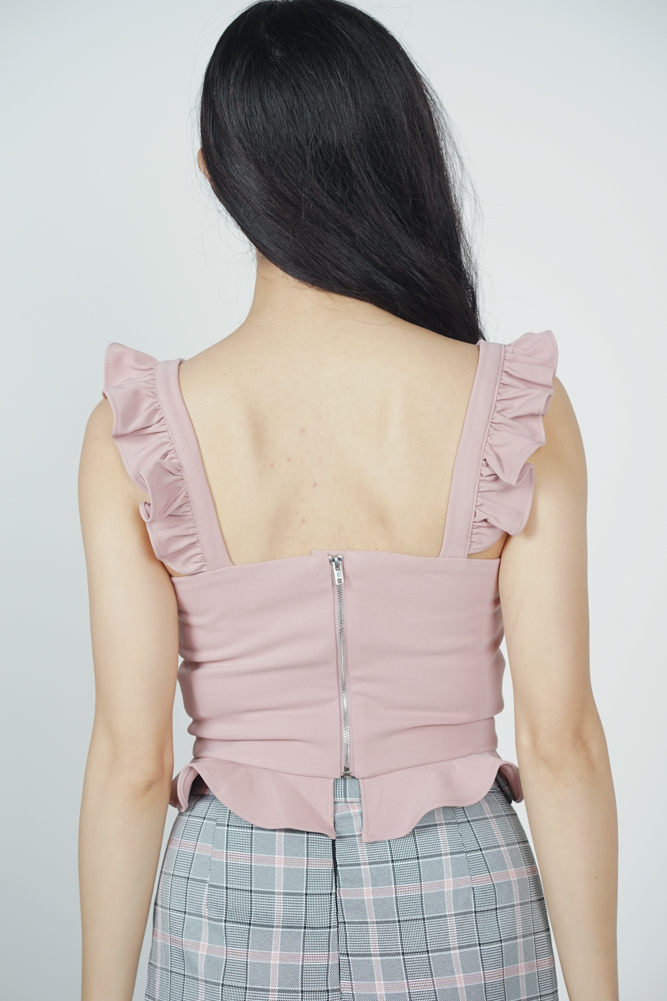 Frilly Peplum Top in Pink - Online Exclusive