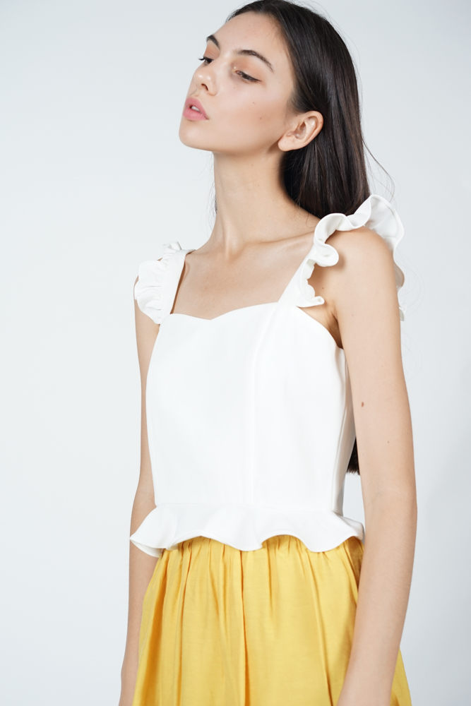 Frilly Peplum Top in White
