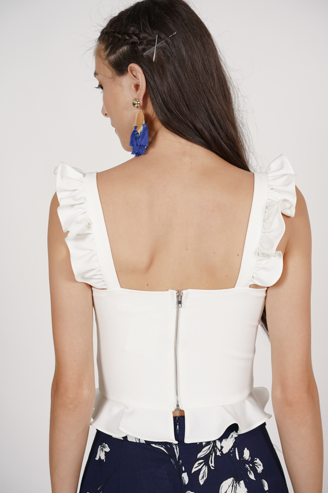 Frilly Peplum Top in White - Arriving Soon