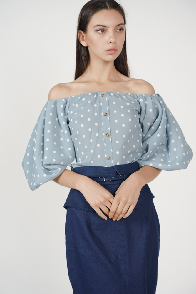 Puffy Sleeves Top in Ash Blue Polka Dots