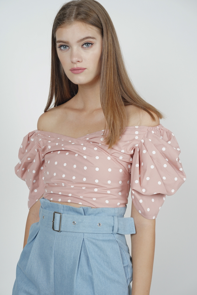 Orabelle Puffy Top in Blush Polka Dots