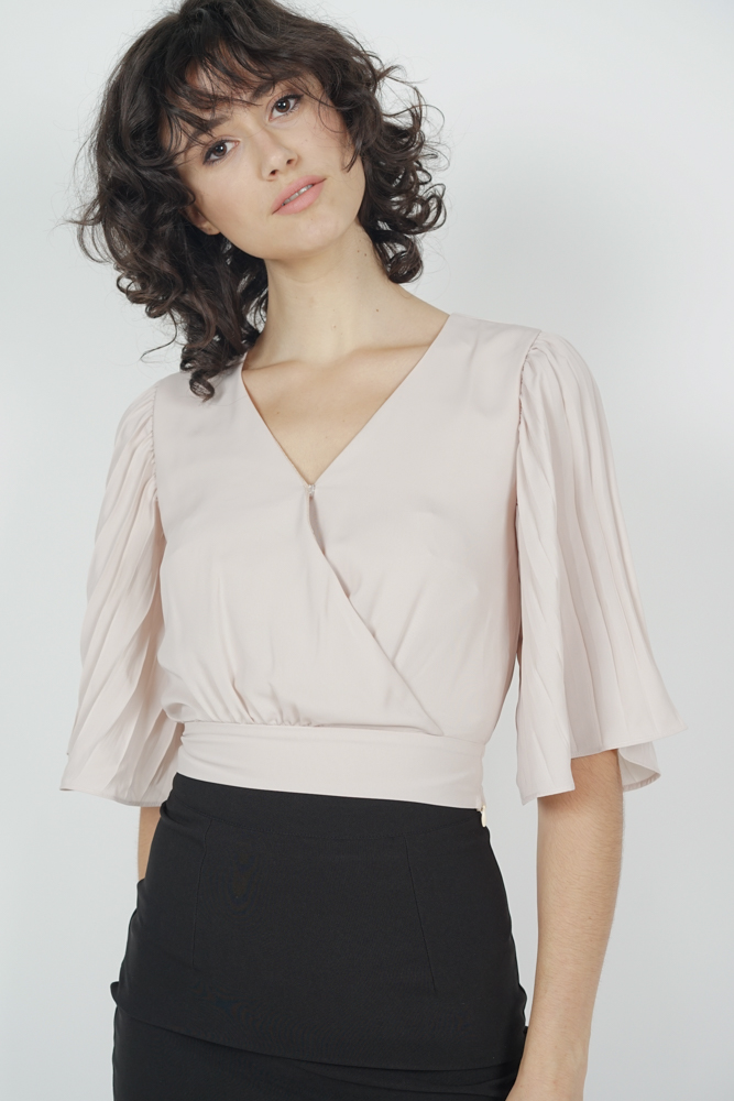 Sleeved Wrap Top in Nude
