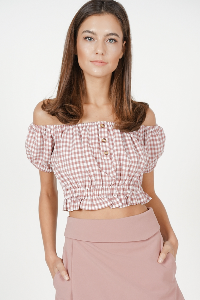 Nahla Cropped Top in Mauve Gingham