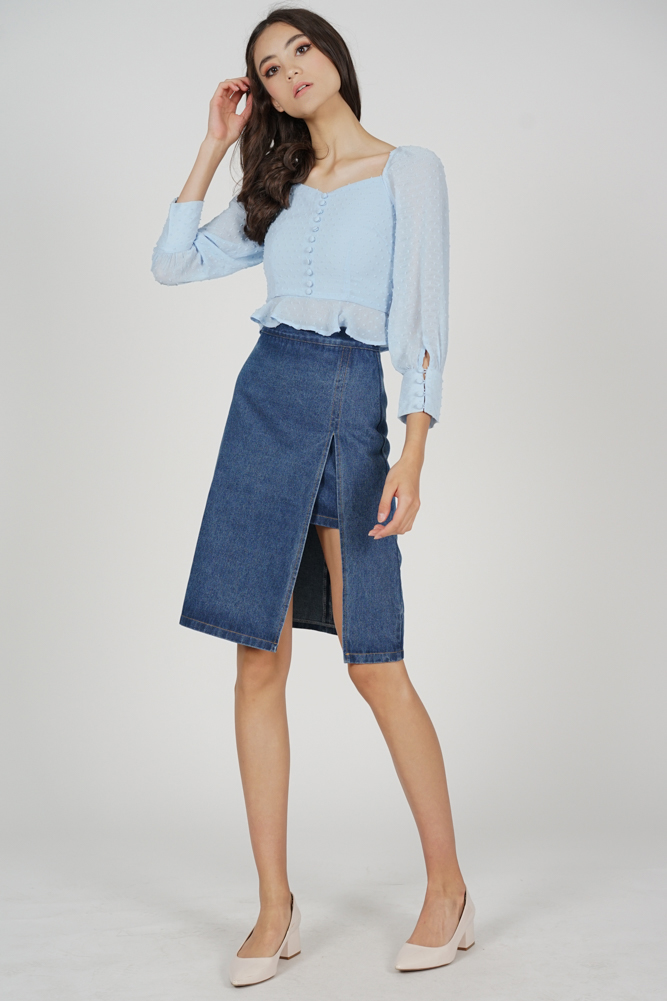 Lorraine Buttoned Top in Ash Blue