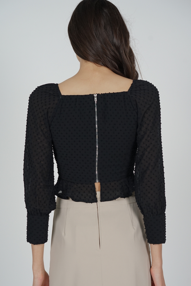 Lorraine Buttoned Top in Black