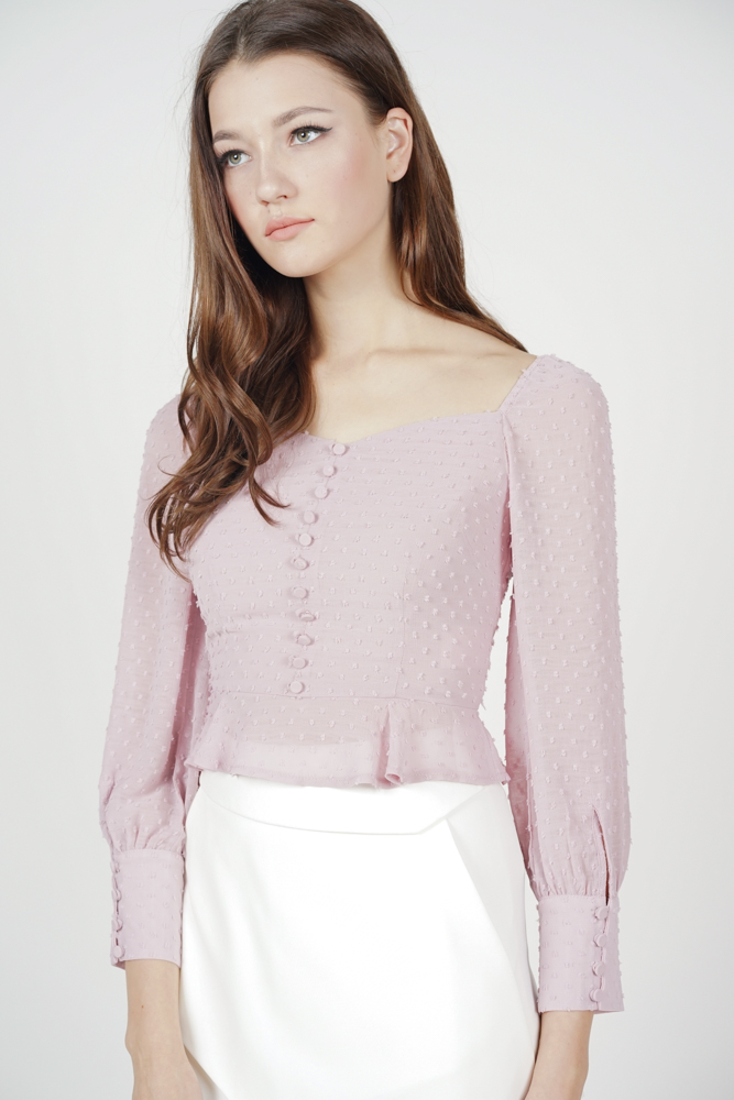 Lorraine Buttoned Top in Mauve