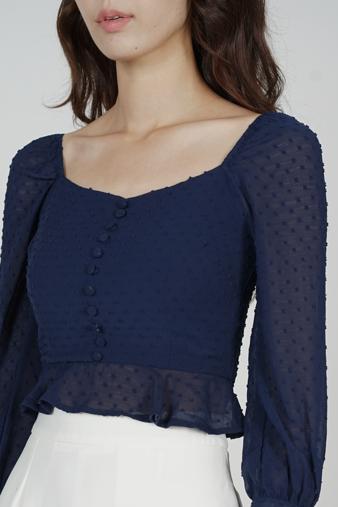 Lorraine Buttoned Top in Midnight