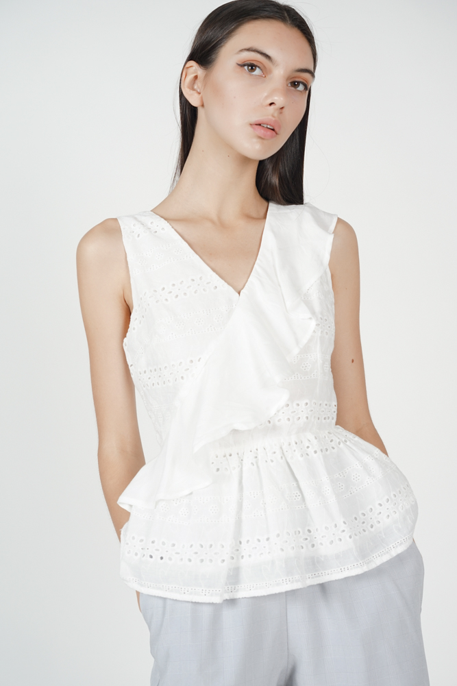 Ruffled Crochet Peplum Top in White