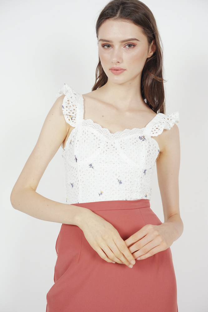 Berit Frilly Top in White Floral - Arriving Soon