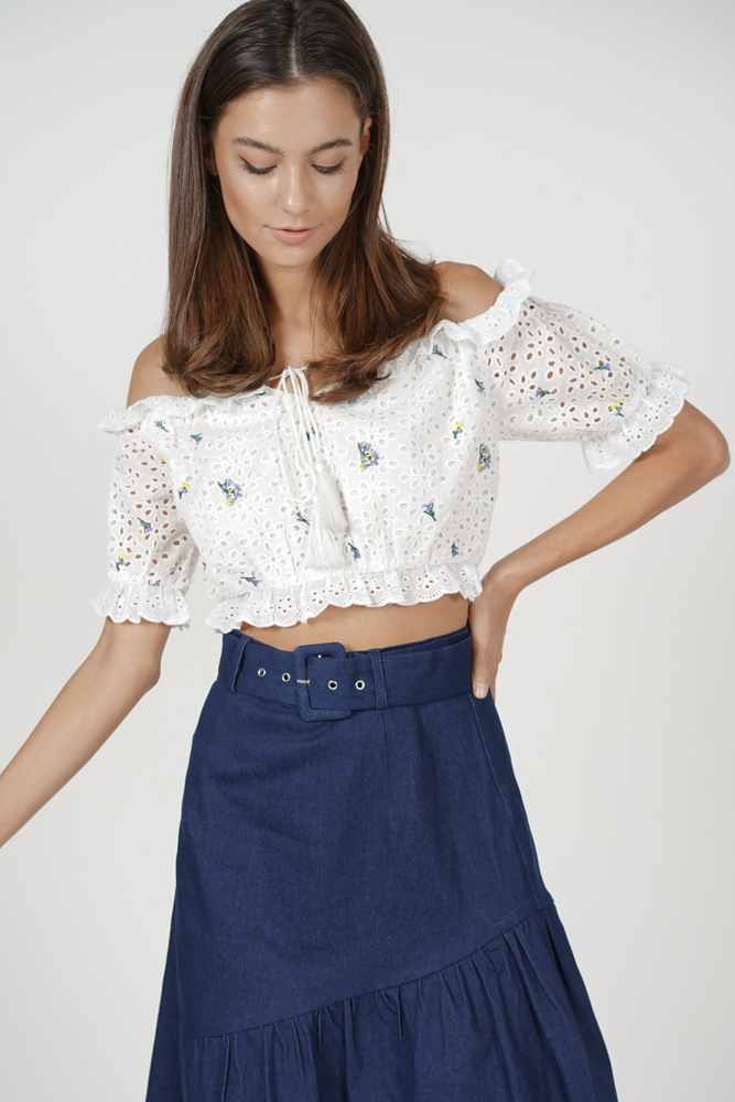Adelaide Crochet Top in White Floral