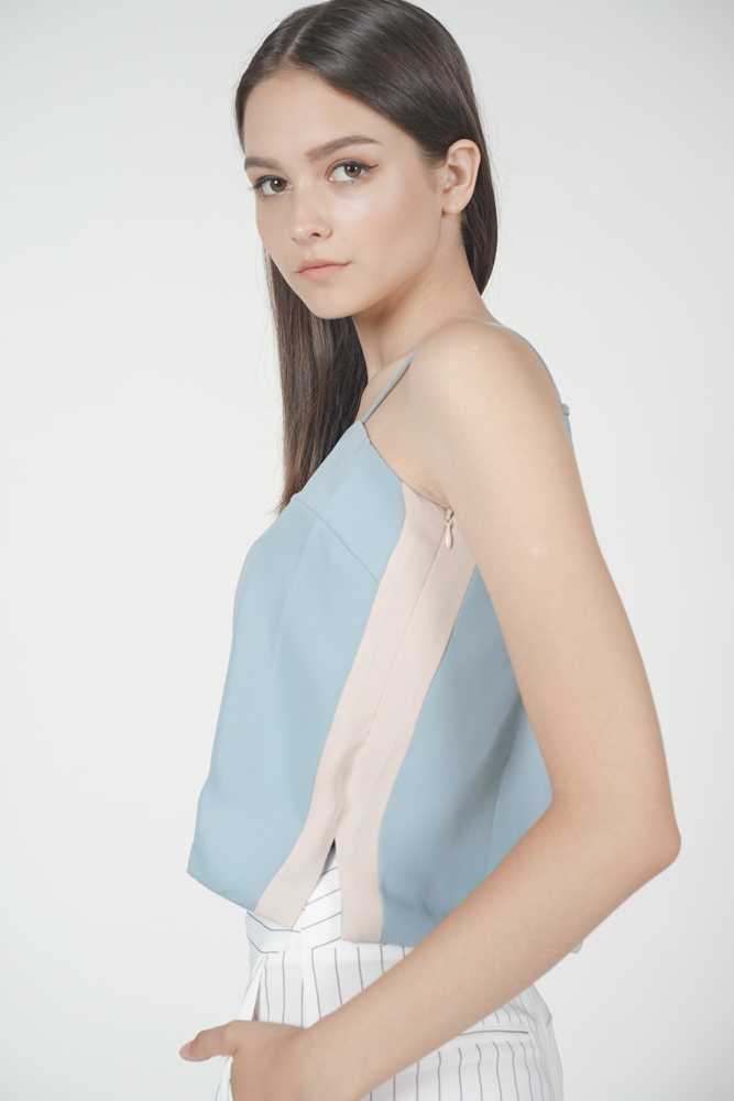 Ellrie Flare Top in Ash Blue