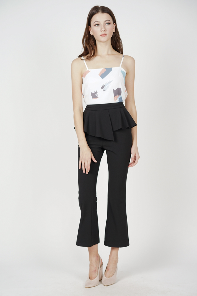 Ellrie Flare Top in White Brush - Online Exclusive