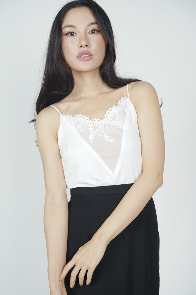 Alexon Lace-Trimmed Top in White - Arriving Soon