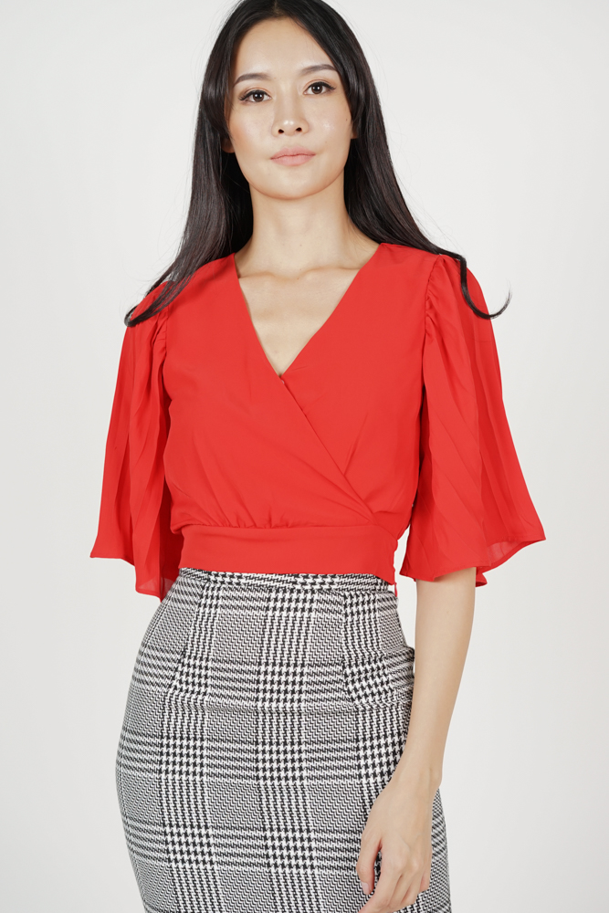 Sleeved Wrap Top in Red
