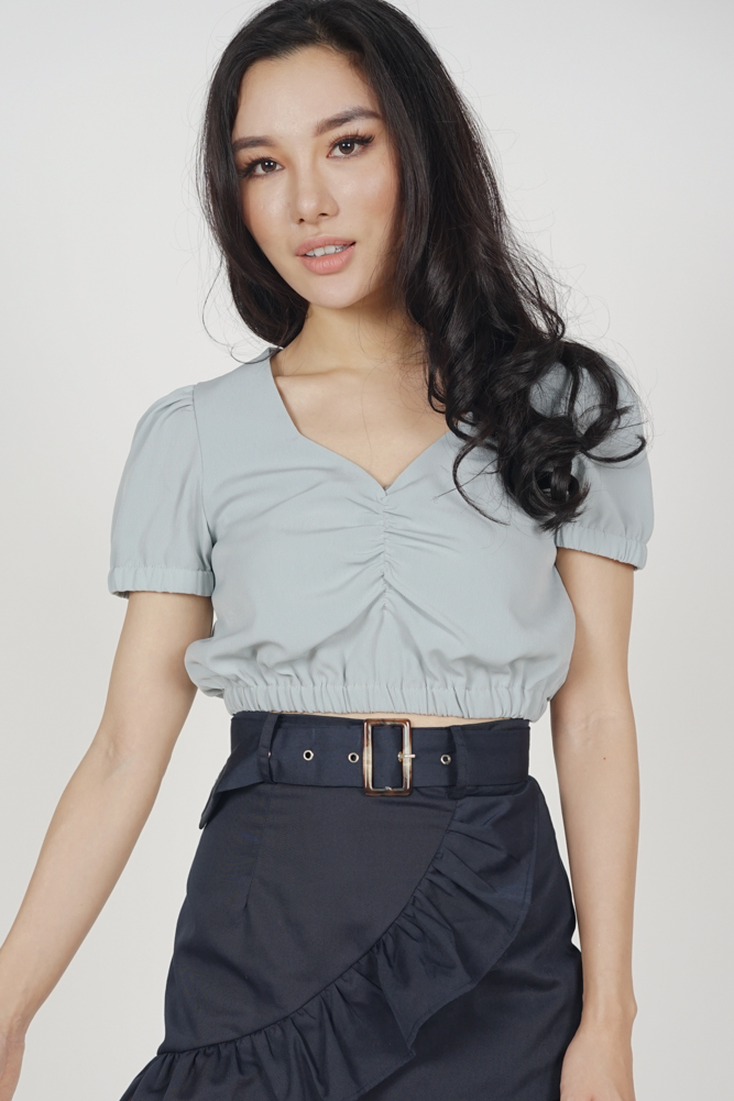Gillian Puff Top in Blue