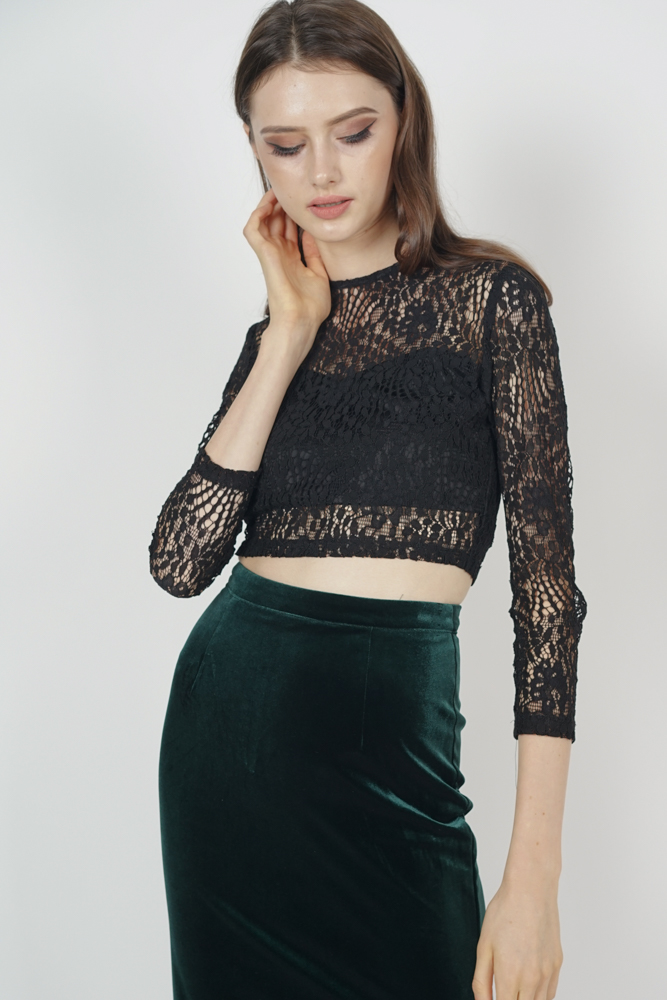 Sheer Lace Top in Black