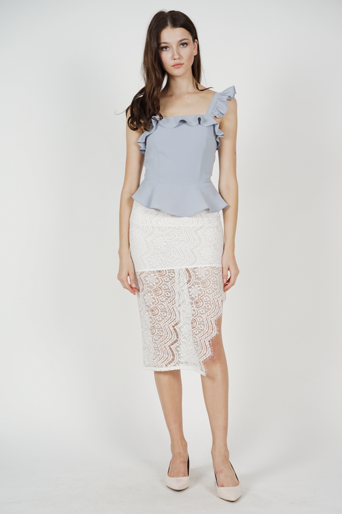 Galia Frilly Peplum Top in Ash Blue
