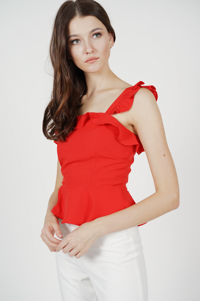 Galia Frilly Peplum Top in Red