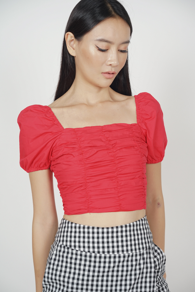 Nyxa Ruched Top in Red