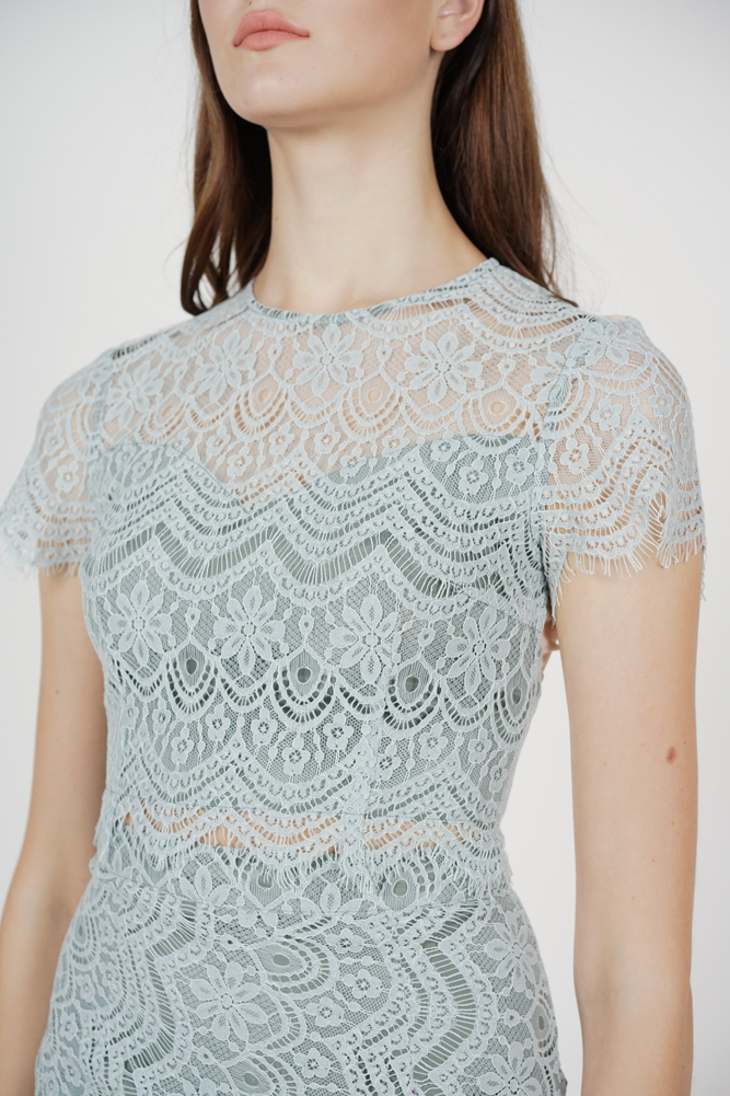 Dorcia Lace Top in Ash Blue - Arriving Soon