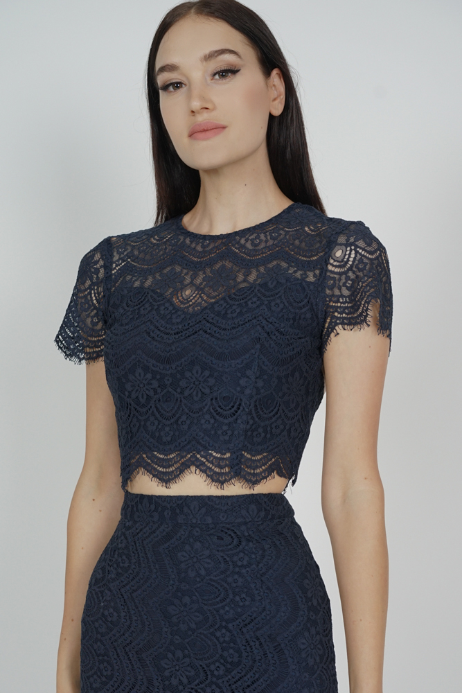 Dorcia Lace Top in Midnight - Arriving Soon