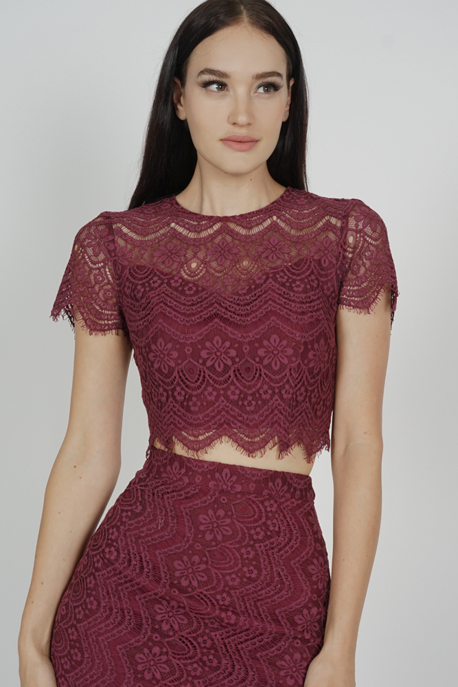 Dorcia Lace Top in Oxblood