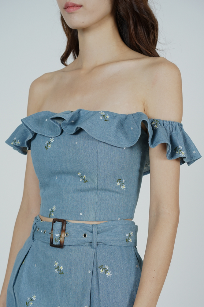 Maia Ruffled Mini Top in Blue White Floral