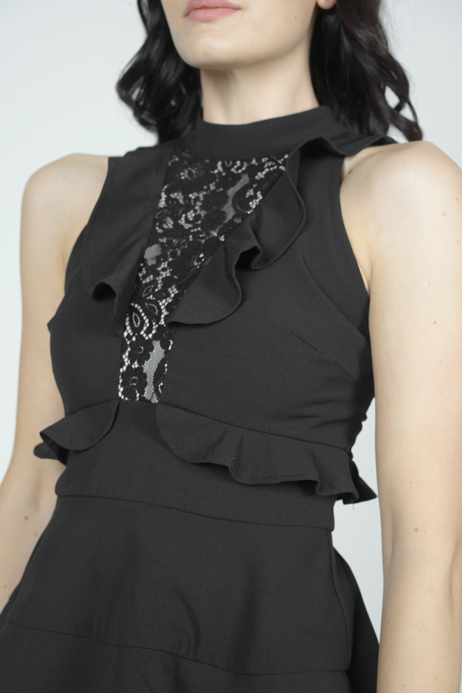 Seiran Peplum Top in Black