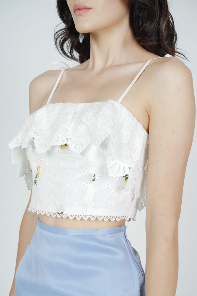 Lanei Crochet Crop Top in White Floral