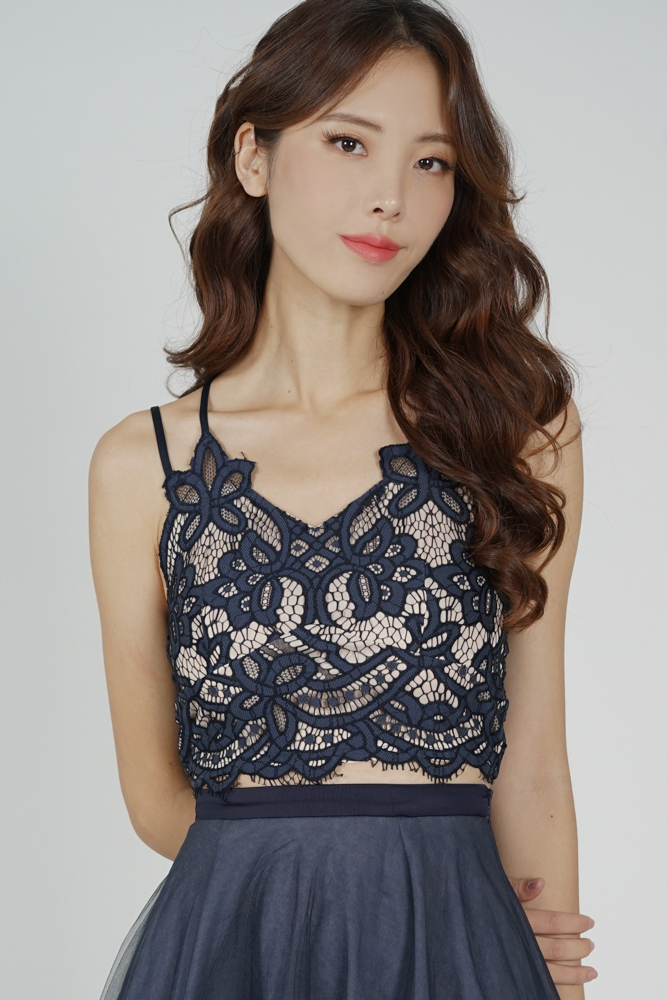 Naida Lace Top in Midnight