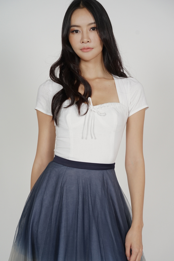 Ainsley Front Tie Top in White - Arriving Soon