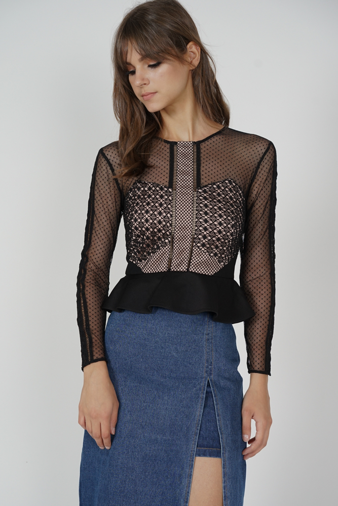 Hilary Sheer Top in Black - Arriving Soon