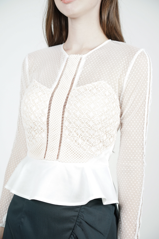 Hilary Sheer Top in White - Arriving Soon