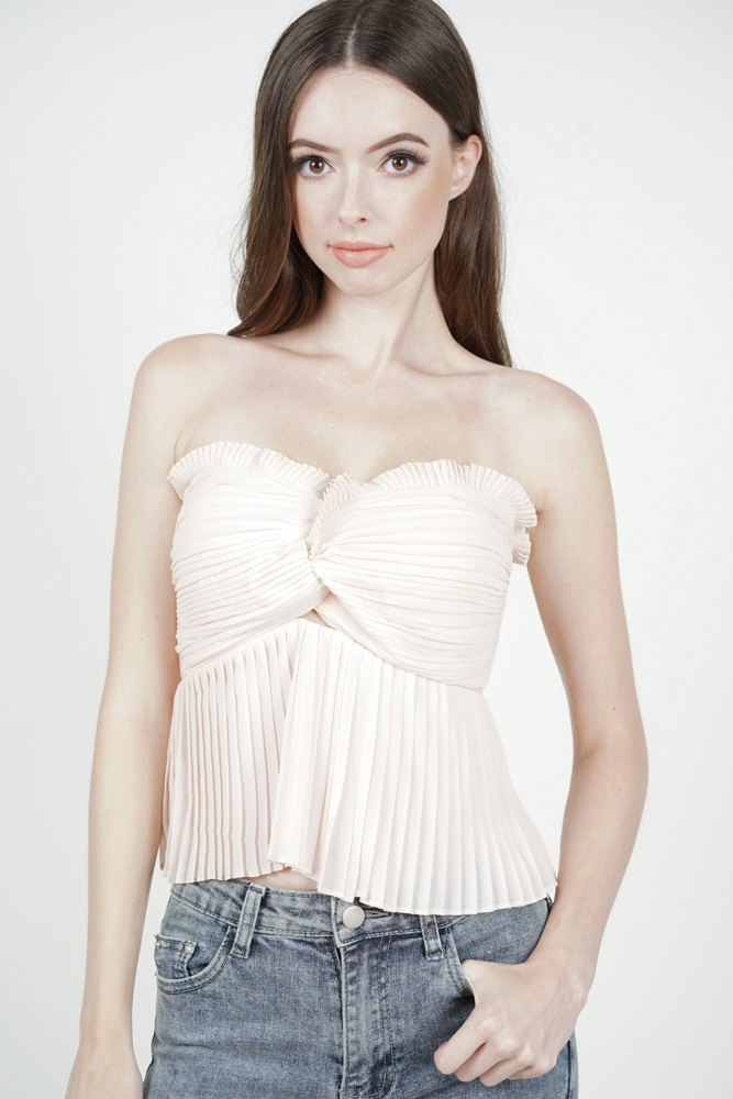 Kasha Pleated Bustier in Pink