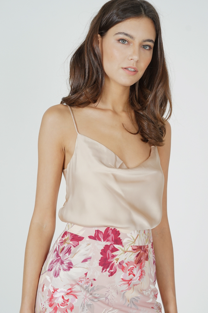 Elise Satin Top in Champagne