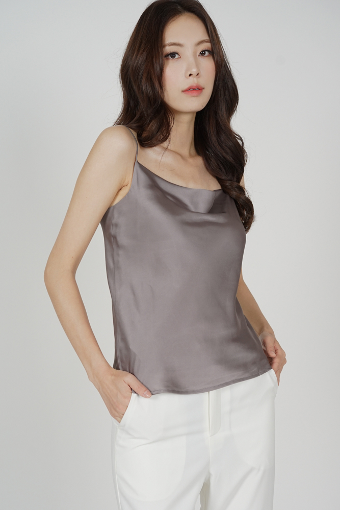 Elise Satin Top in Grey