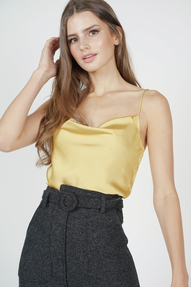 Elise Satin Top in Mustard