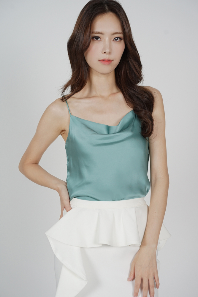 Elise Satin Top in Seafoam