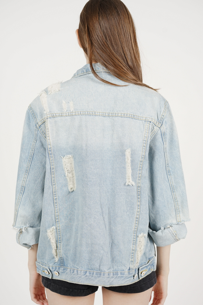 Kai Ripped Denim Jacket in Light Blue - Arriving Soon