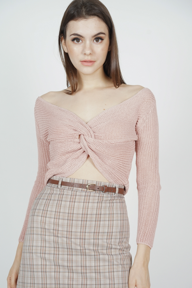Alstie Knotted Top in Dusty Pink - Online Exclusive