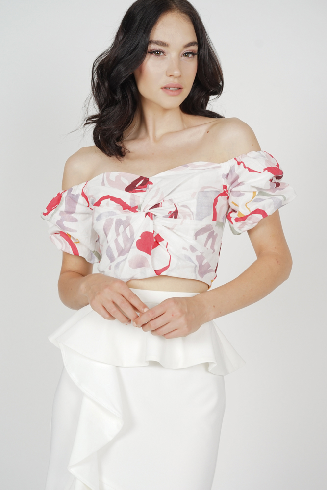 Mulan Twisted Crop Top in White Red