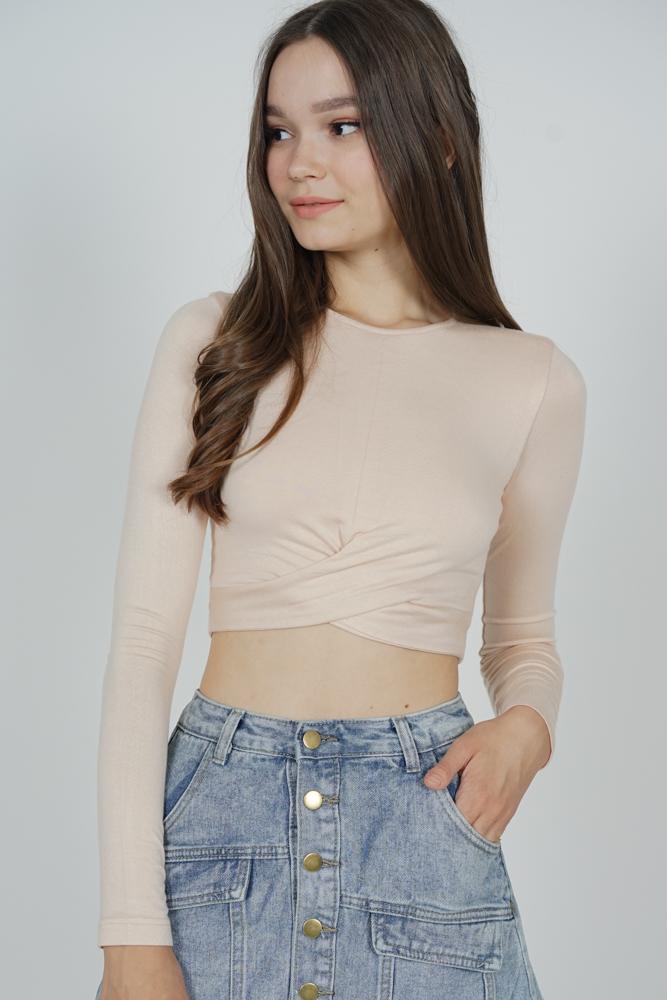 Ozzie Criss-Cross Top in Beige