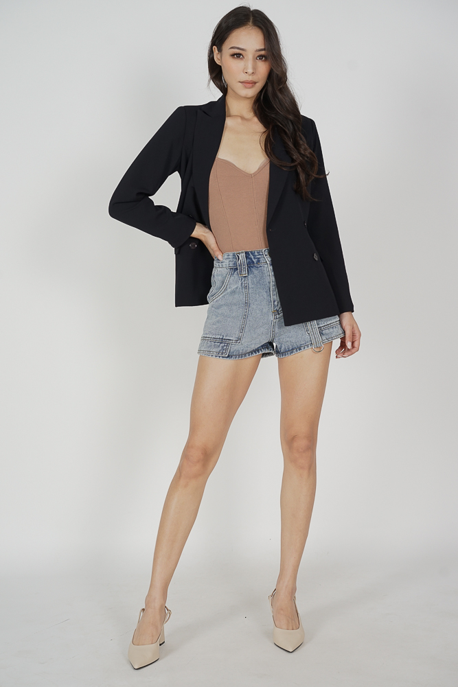 Gretchen Buttoned Blazer in Midnight - Arriving Soon