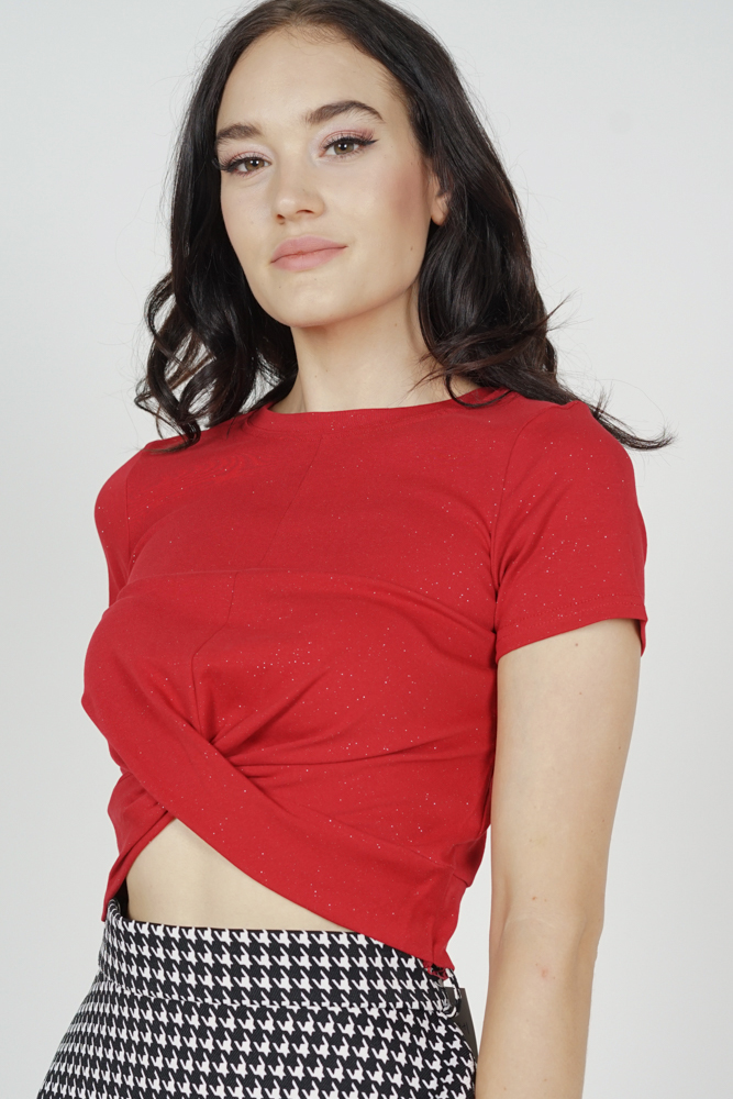 Zella Criss-Cross Top in Red - Online Exclusive