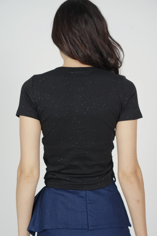 Lusha Gathered Front Top in Black - Online Exclusive