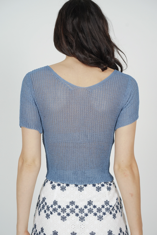 Ivalo Knotted-Front Top in Blue - Online Exclusive