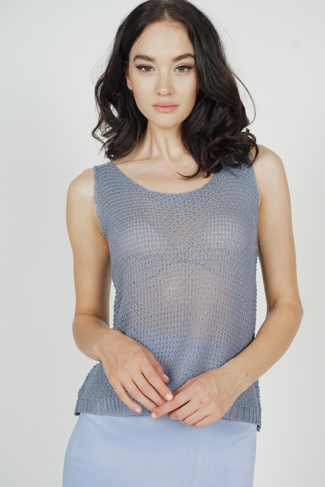 Kiesha Knitted Tank Top in Ash Blue - Online Exclusive
